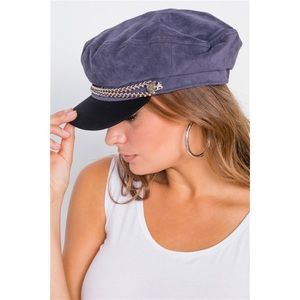 BLUE BRAIDED CABBY HAT